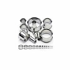 Surgical Steel Double Flared Plugs Tunnels Lot of 10 Pieces (5 Pair) 6g