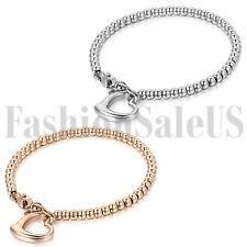 Fashion Women's Stainless Steel Love Heart Dangle Beads Chain Bracelet Gift