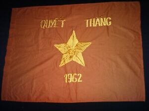 Vietnam War VC Battle Flag QUYET THANG 1962 - Resolve To Win Year 1962
