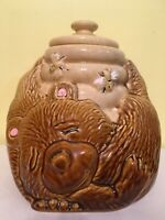 "Vintage COOKIE JAR Bear Honey Pot Bees 8 3/4"" Ceramic 143 McCoy SLEEPING HOLDING"