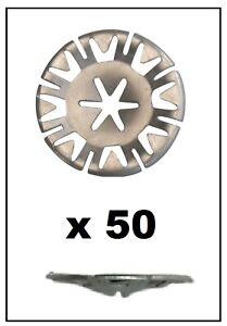 50x VOLKSWAGEN Undertray Exhaust Heat Shield Metal Spring Washer Fixing Clip Nut