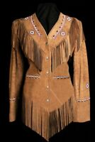Native American Western Women's Leather Jacket with Fringe