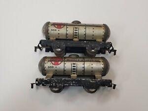 Marx Santa Fe Middle States Oil Tank Car #553 Lot of 2