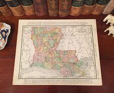 Original 1898 Antique Map LOUISIANA Shreveport New Orleans Baton Rouge Monroe LA