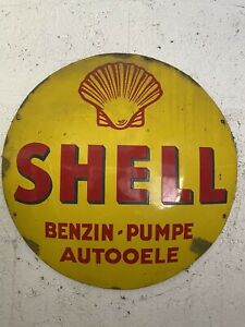 altes Shell Benzin Autooele Emailschild Emaille Schild Emaillschild 60cm