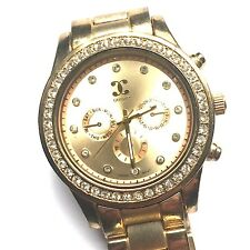 LARGE GOLD & CRYSTAL WATCH