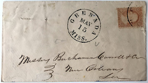 US#26 3c Cover with US stamp, Grenada, Miss. to New Orleans, La.
