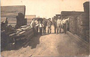 RPPC Louisiana (?) Lumber Yard Lumber Mill Scene early 1900s