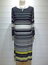 M&S Dress ~ Size 14 ~ Black White Green ~ 3/4 Sleeve - Casual Party ~ 1854