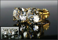 STUD EARRINGS 2.50 CT VVS/D ROUND CUT 14K WHITE & YELLOW GOLD Certified