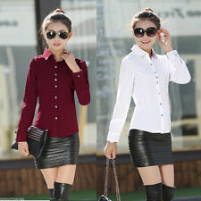 Unbranded Polyester Button Down Collar Blouse Women's Tops & Shirts