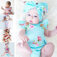UK Blue Infant Baby Girl Floral Romper Bodysuit Jumpsuit+Headband Clothes Outfit