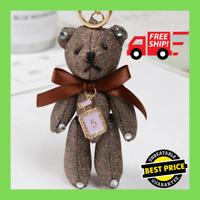 Handmade Teddy Bear Key Chain Women Purse Bag Charm Cute Keychain Ring Accessory