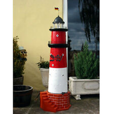 LEUCHTTURM BÜSUM SYLT 170 cm rot weiß DOPPELLICHT Garten maritim Nordsee Meer