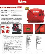 NEW 24105 ESKIMO QUICKFISH 5I INSULATED ICE FISHING POP-UP SHELTER
