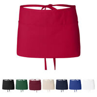 Waist Apron with 3-Section Front Pouch Pockets Waiter Waitress Barista Workwear