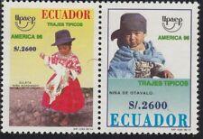 Upaep Ecuador 1373/74 1996 Niña bordando Otavalo MNH
