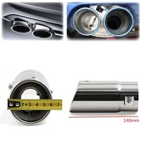 Silver Car Pickup Exhaust Tail Muffler Tip Pipe Bevel Type - Stainless Steel