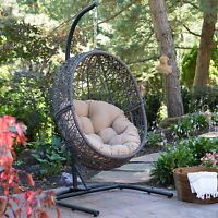 Brown Resin Wicker Tufted Cushion Hanging Egg Patio Swing Outdoor Home Furniture