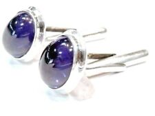 New Collection 925 Sterling Silver Natural Precious Sapphire cabochon Cufflink