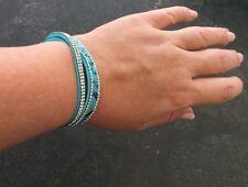 Fashion Snake Skin Leather Crystal Bracelet with Magnetic-Clasp Wrap Blue Black