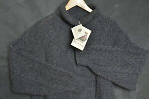 Fisherman Out of Ireland Men Jumper M Chunky Cable Aran knit Wool Sweater Polo