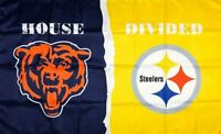 Chicago Bears vs Pittsburgh Steelers House Divided Flag 3x5 ft Sports Banner