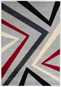 Hilma Abstract Geometric Red Grey Modern Rug Runner 80x300cm **FREE DELIVERY**