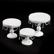 3Pcs Cake Stand Set Metal Cupcake Holder Display Plate W/ Crystal White Color Us