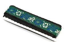 18-20mm Green Blue Flower Waterproof Nylon Hook & Loop Watch Band Fits Chums