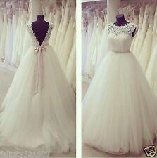 New Ivory White Lace Wedding Dress Bridal Gown Custom Size 6 8 10 12 14 16 18+++