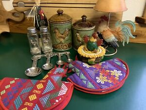 Kitchen Decor Lot Chicken Salt & Pepper Canisters Timer Candle Measuring Mitts +