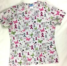 Scrubs Womens Breast Cancer Scrub Top XS White Butterflies Medical Dental Vet