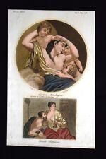 Carità Mitologica e Romana Incisione colorata a mano del 1820 Mitologia Pozzoli