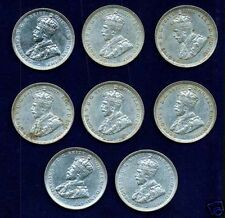 AUSTRALIA GEORGE V  1916-M  1 SHILLING SILVER COINS (8)