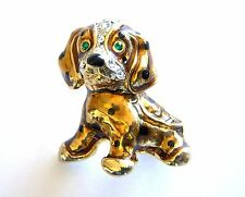 Puppy Dog Brooch Yellow Gold Plated Pin Crystal Costume Jewelry Christmas Gifts