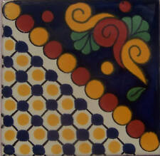 "C229) 9 Handcrafted 4"" x 4"" Mexican Clay Talavera Tiles"