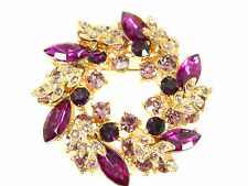 Elegant Amethyst Purple Circle Wreath Rhinestones Brooch Gold Base BR88