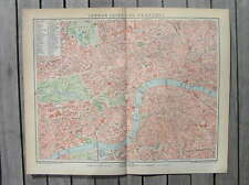 Antique map plan London city and Westend England 1894
