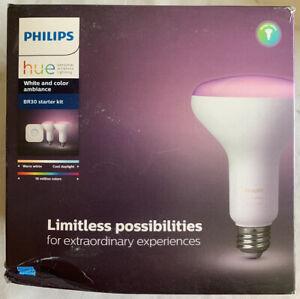 Phillips Hue Bridge White + Color BR30 LED 65W Smart Light Bulb Starter Kit