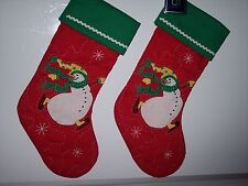 Set of 2 Ice Skating Snowman Quilted Stockings Red Green