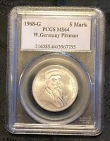 JOHN J PITTMAN Pedegree PCGS MS64 1968 G Silver West Germany 5 Mark  POP = 6/3