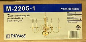 Brass Chandelier Colonial Williamsburg Style 5 Arm Light Candles Polished Finish