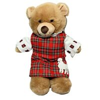 Build a Bear Girl Teddy Red Plaid Dress With a Poodle Embroidery