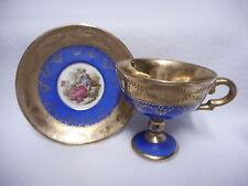 Vintage Royal Vienna Demitasse Cobalt Blue Footed Saucer Cup Romantic Couple