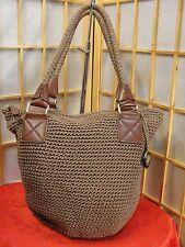 The SAK Brown Knit Leather Look Zip Top Bucket Pouch Handbag Purse  NWOT