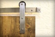 7 ft industrial-brushed-steel-sliding-barn-door-wood-hardware-rustic-roller