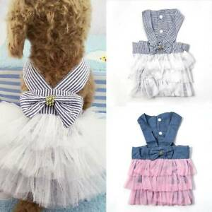 Cute Pet Dog Bow Tutu Dress Skirt Cat Puppy Princess Costume Apparel Clothes US