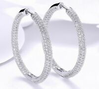 "18K White Gold Hoop Earrings Made with SWAROVSKI crystals ITALY 1.3"" Pave Stones"