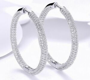 "18K White Gold Hoop Earrings Made with crystals ITALY 1.3"" Pave Stones"